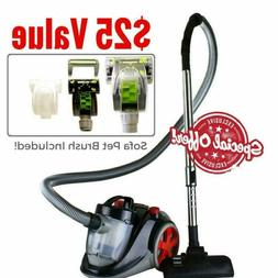 Bagless Canister Cyclonic Vacuum With Hepa Filter Comes Pet