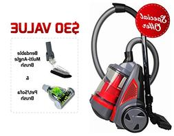 Ovente ST2620R Bagless Canister Cyclonic Vacuum – HEPA Fil