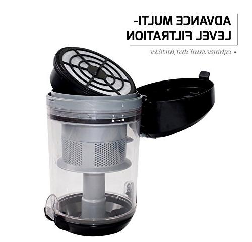 Ovente ST2620B Canister Cyclonic Vacuum Filter – Includes Bendable Multi-Angle, Brush, Retractable – Featherlite