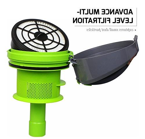 Ovente Canister Cyclonic Vacuum – Filter Bendable Multi-Angle, Brush, Featherlite Series, Green