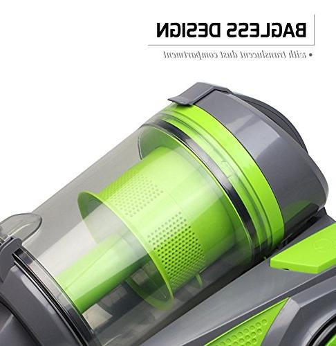 Ovente Canister Cyclonic Vacuum – HEPA Filter Bendable Multi-Angle, Crevice Brush, Retractable Cord Featherlite –
