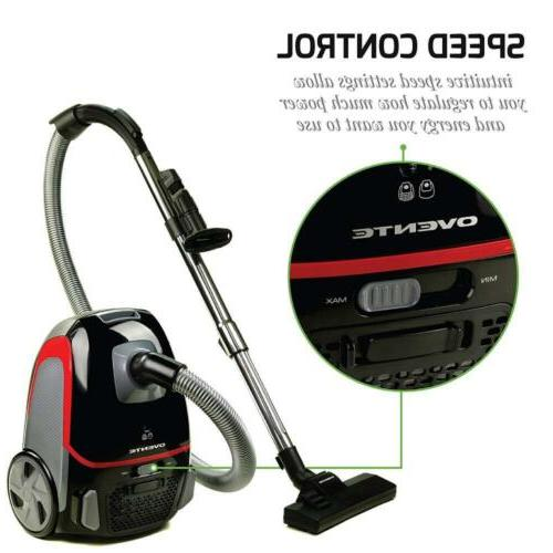 Ovente Canister Vacuum Tri-Level Dust Outlet HEPA...