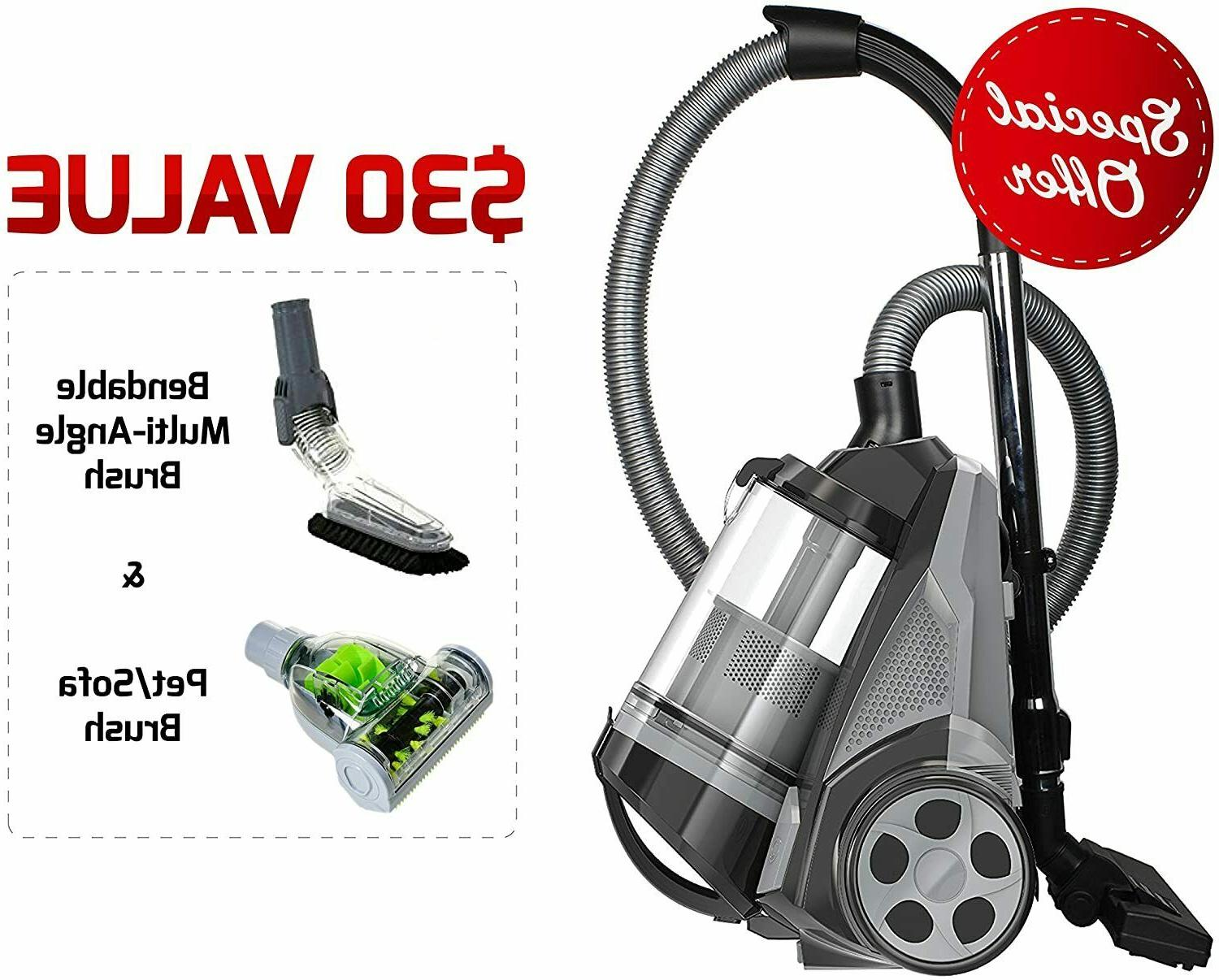 Ovente Bagless Canister Cyclonic Vacuum 1400W Bendable Multi