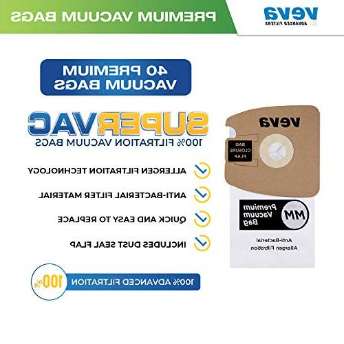 VEVA 40 Pack SuperVac Replacement Type MM Eureka Mighty Mite Canister Vacuum MM Model 60295A, 60295B & 60297A